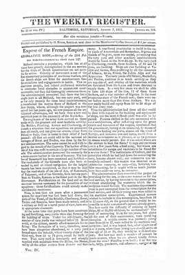 The Weekly Register - August 1813