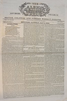 The Albion, or British, Colonial and Foreign Weekly Gazette Vol. 5, No. 18- May 2, 1846.  Article on Major General Isaac Brock and the 41st Regiment on the second (reverse) page.