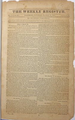 The Weekly Register Vol. III, No. 11, Whole No. 63- November 14,1812