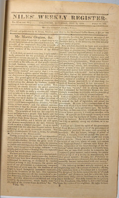 The Weekly Register Vol. VI, No. 22, Whole No. 152- July 30, 1814