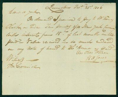Wilson - Jones Promissory Note, 1806