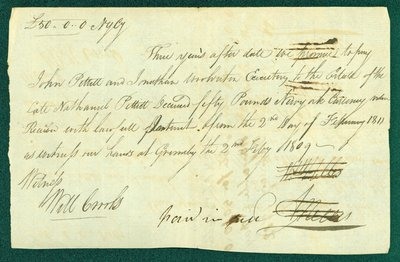 Promissory Note, February 2, 1812 - William and Abraham Nelles and Nathanial Pettit Estate