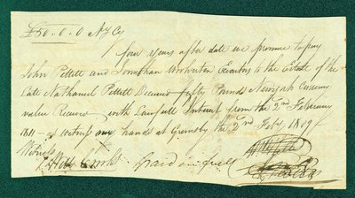 Promissory Note, February 2, 1813 - William and Abraham Nelles and Nathanial Pettit Estate