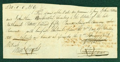 Promissory Note, February 2, 1814 - William and Abraham Nelles and Nathanial Pettit Estate