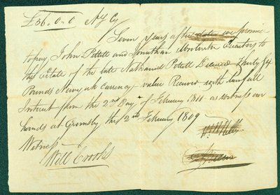Promissory Note, February 2, 1816 - William and Abraham Nelles and Nathanial Pettit Estate