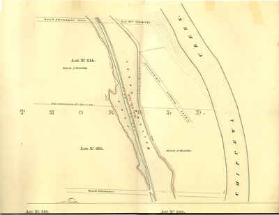 Second Welland Canal - Book 3, Survey Map 6 - Canal along Chippewa Creek in Thorold