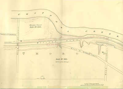 Second Welland Canal - Book 3, Survey Map 10 - Canal along Chippewa Creek in Thorold