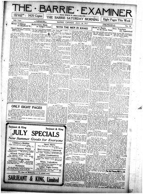 Barrie Examiner, 26 Jul 1917