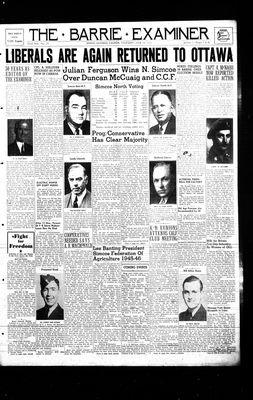 Barrie Examiner, 14 Jun 1945