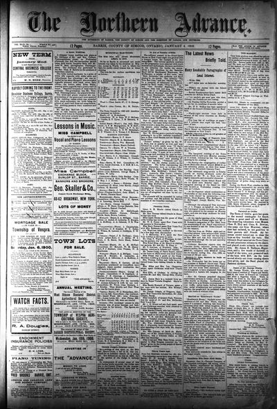 Northern Advance, 4 Jan 1900
