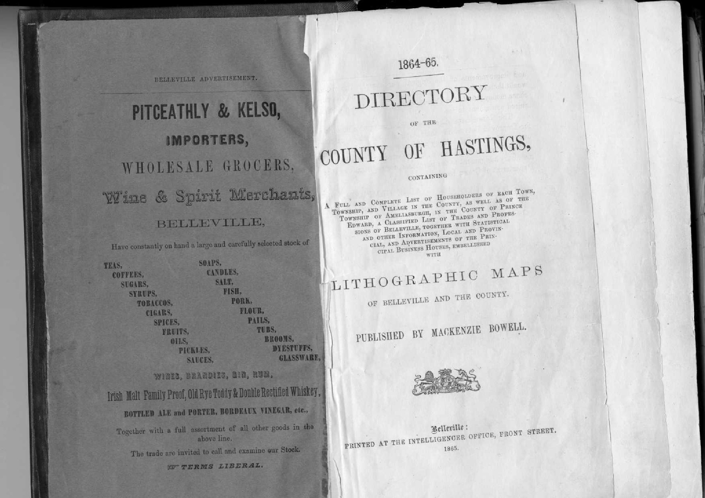 1864-1865 Directory of the County of Hastings