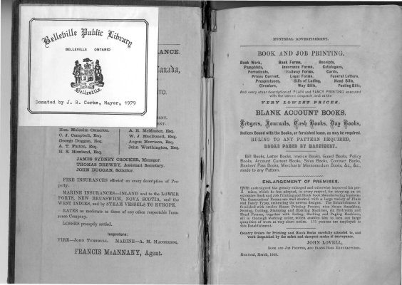 1868-1869 Directory of the County of Hastings