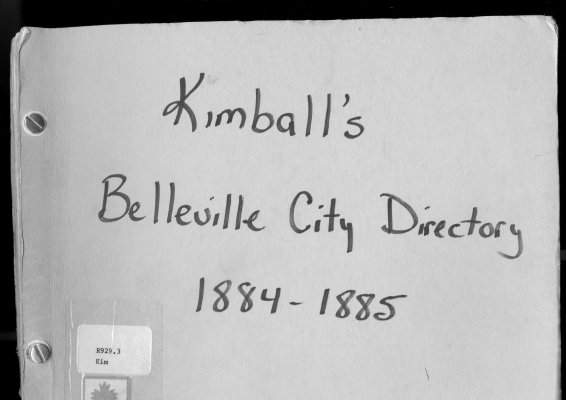 Kimballs' Belleville City Directory for 1884-1885