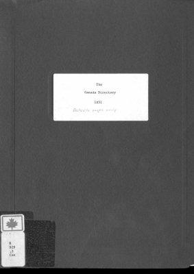 Canada Directory Belleville 1851