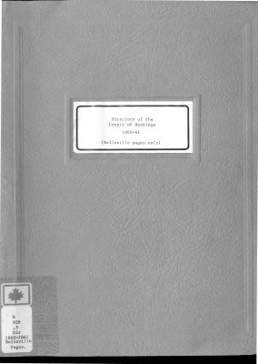 Directory of the County of Hastings (Belleville pages only) 1860-1861