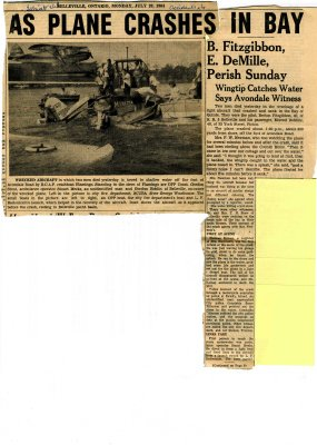 As plane crashes in bay: B. Fitzgibbon, E. DeMille, perish Sunday