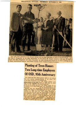 Planting of trees honors two long-time employees of OSD, 95th Anniversary