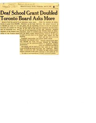 Deaf school grant doubled Toronto board asks more