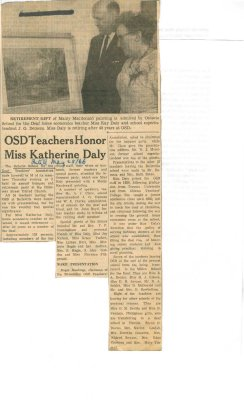 OSD teachers honor Miss Katherine Daly