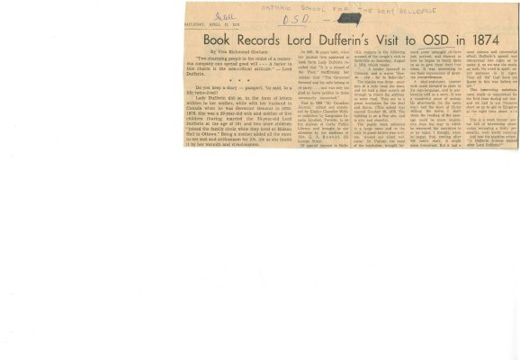 Book records Lord Dufferin's visit to OSD in 1874