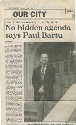 New Sir James Whitney superintendent: No hidden agenda says Paul Bartu