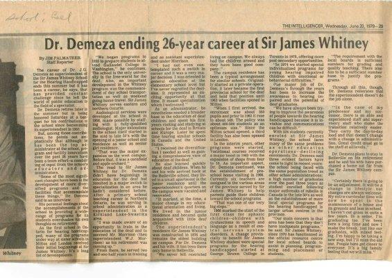 Dr. Demeza ending 26-year career at Sir James Whitney