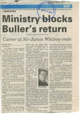 Ministry blocks Buller's return