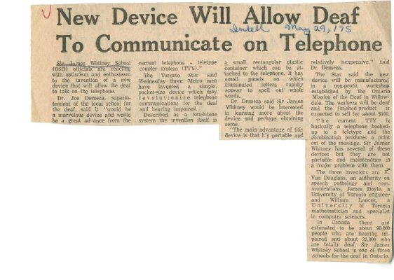New device will allow deaf to communicate on telephone