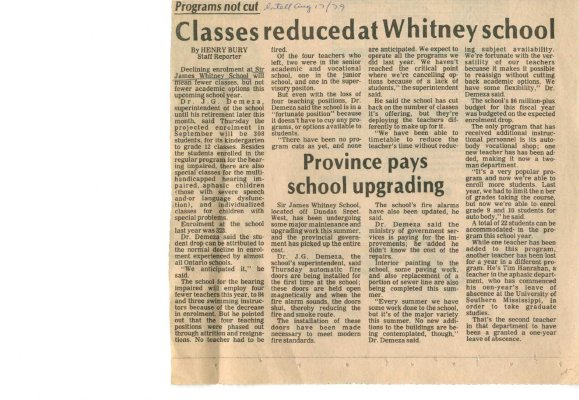 Classes reduced at Whitney school
