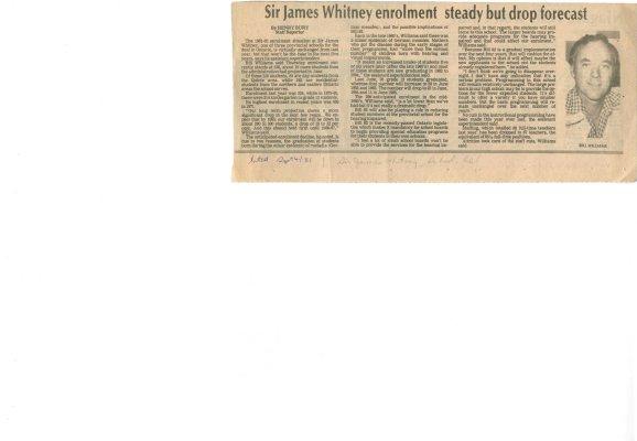 Sir James Whitney enrolment steady but drop forecast