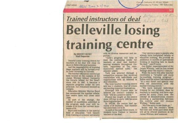 Belleville losing training centre