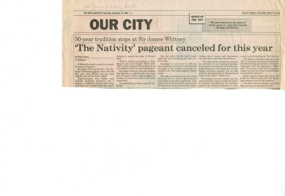 The Nativity pageant canceled for this year