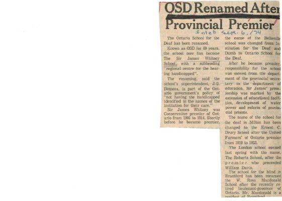 OSD renamed after Provincial Premier