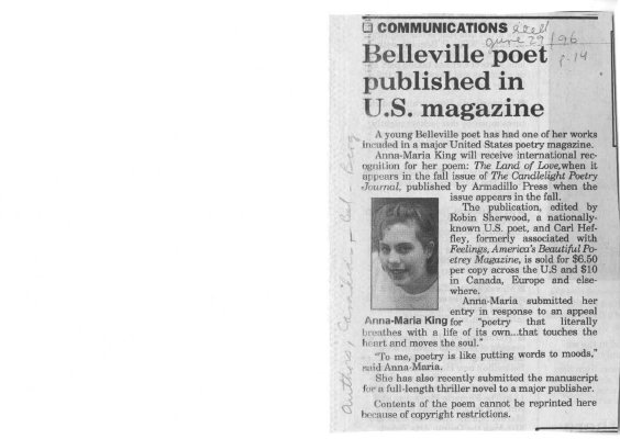 Belleville Poet Published in US Magazine