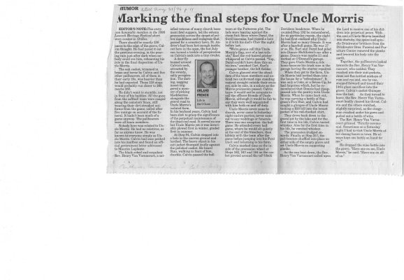 Marking the Final Steps for Uncle Morris