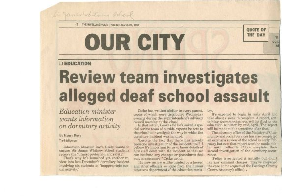 Review team investigates alleged deaf school assault