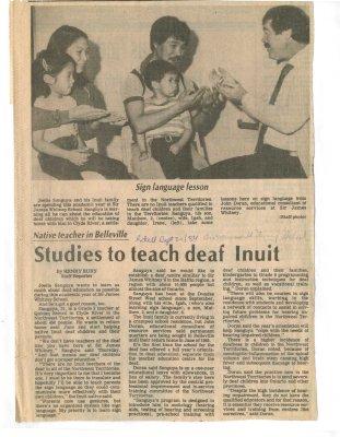 Native teacher in Belleville: Studies to teach deaf Inuit