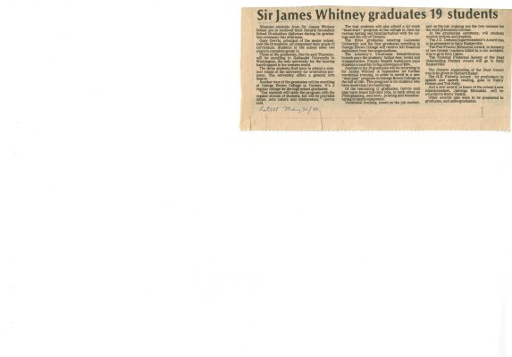 Sir James Whitney graduates 19 students
