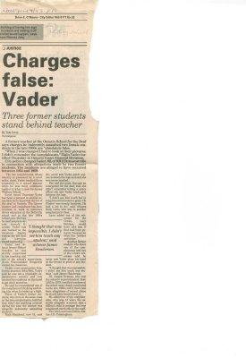 Charges false: Vader
