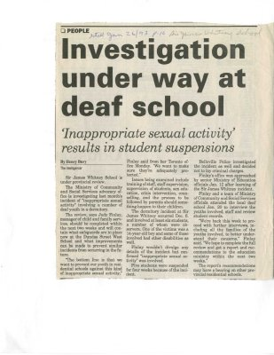 Investigation under way at deaf school