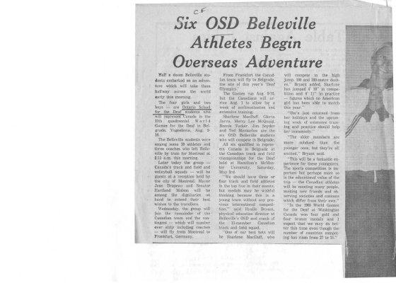 Six OSD Belleville athletes begin overseas adventure