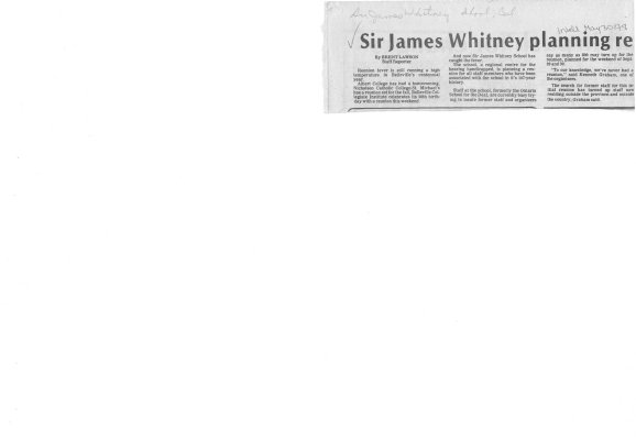 Sir James Whitney planning reunion for former staff members