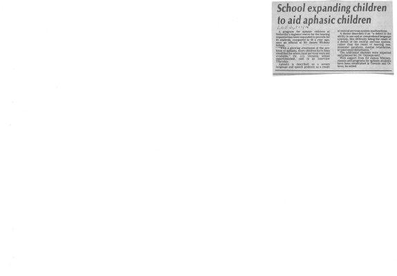 School expanding children to aid aphasic children
