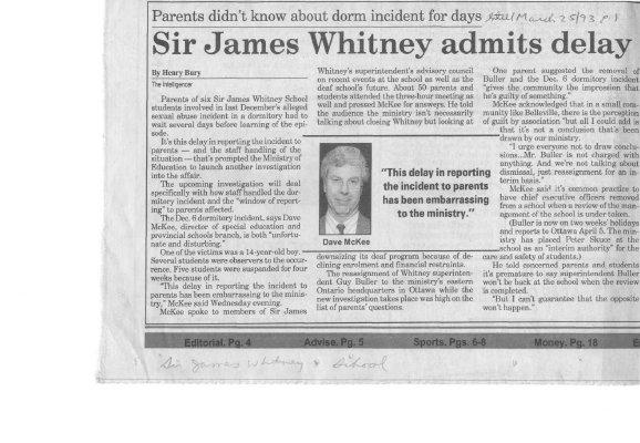 Sir James Whitney admits delay