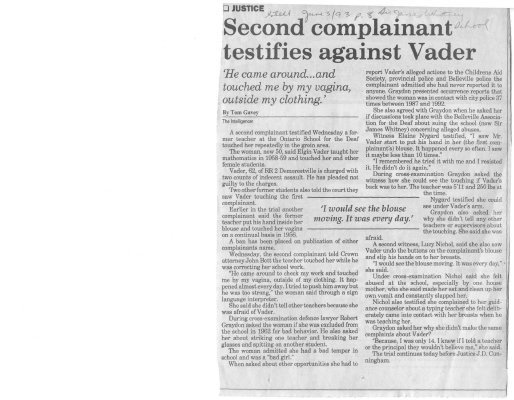 Second complainant testifies against Vader
