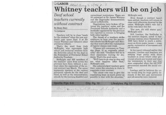 Whitney teachers will be on job