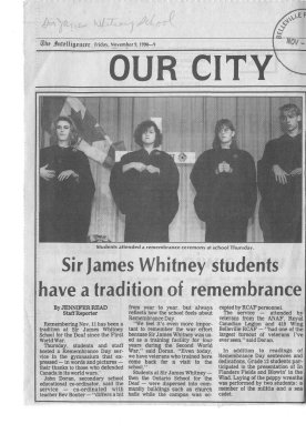 Sir James Whitney students have a tradition of remembrance
