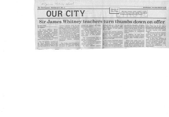 Sir James Whitney teachers turn thumbs down on offer