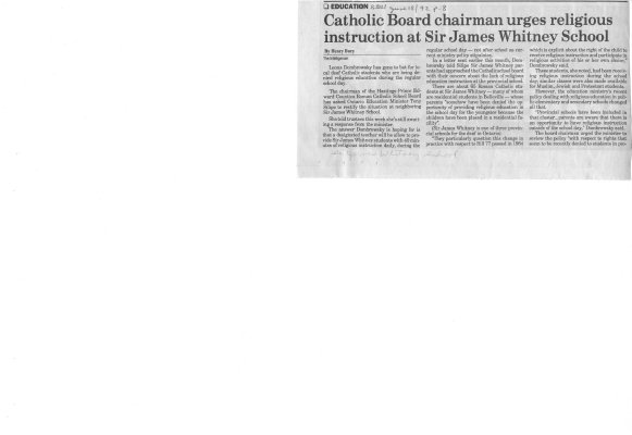 Catholic Board chairman urges religious instruction at Sir James Whitney School