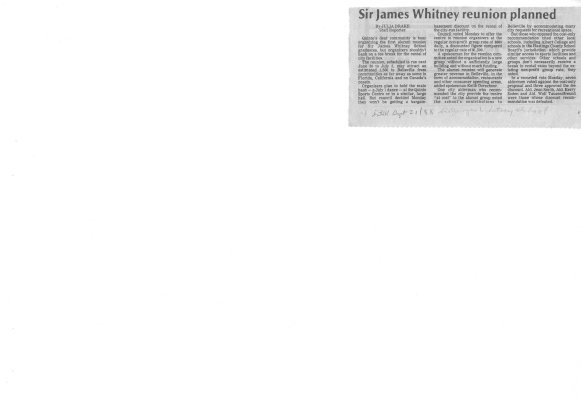 Sir James Whitney reunion planned